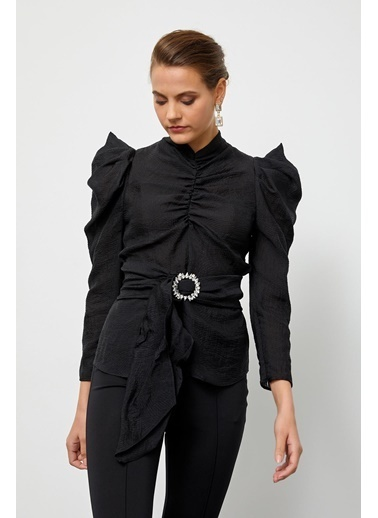 Setre Zümrüt Dik Yaka Kuşaklı Truvakar Kol Bluz Siyah